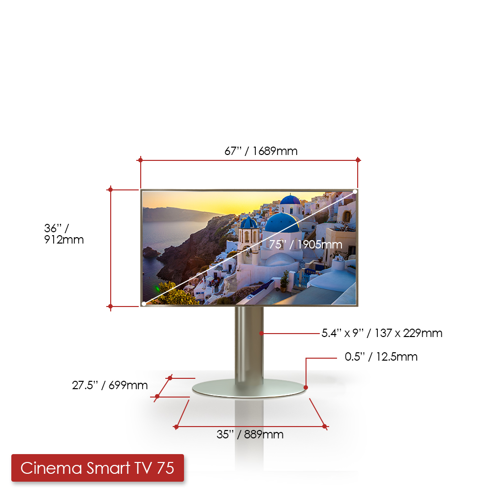 75 inches Cinema Smart TV with measurements