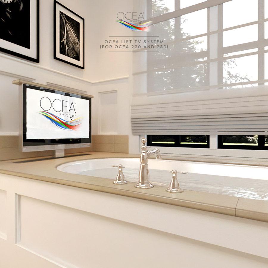 Bathroom TV's lift system for bathtub installation.