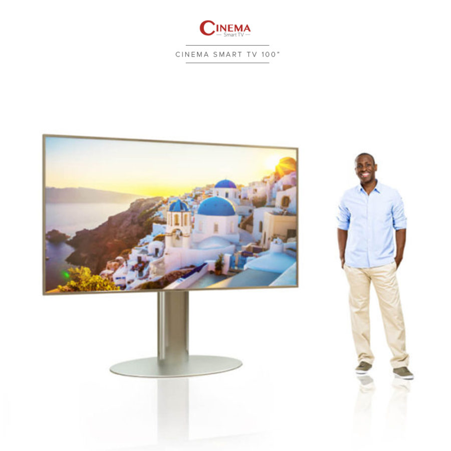Beautiful and big screen cinema smart TV with a floor stand all made of stainless steel.