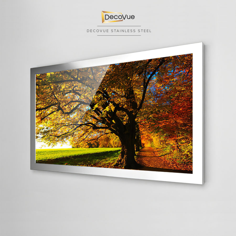 Beautiful and elegant stainless steel framed smart mirror TV.