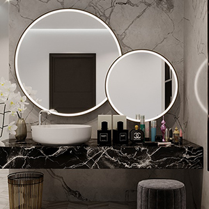 Beautiful mirror with a brushed aluminum frame and an incredible integrated LED light.