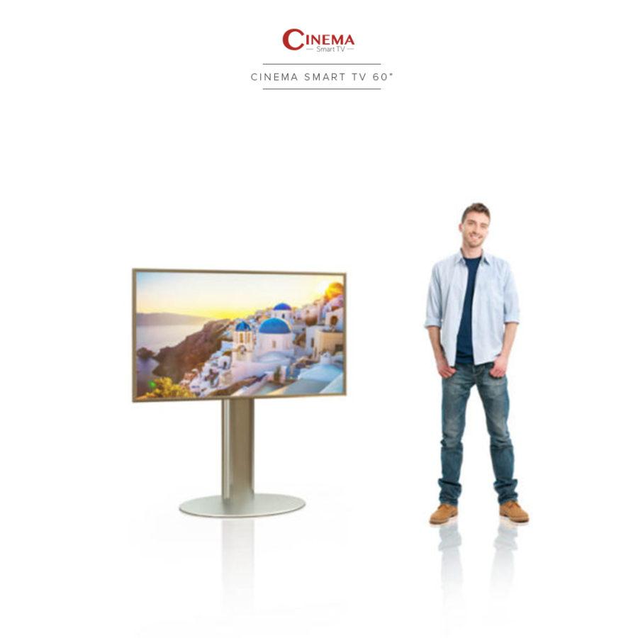 Cinema smart TV with elegantly designed floor stand.