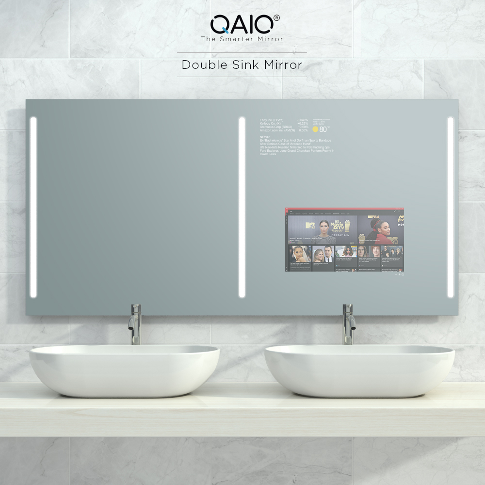 Double sink mirror vanishing TV as smart as the latest smart phone.