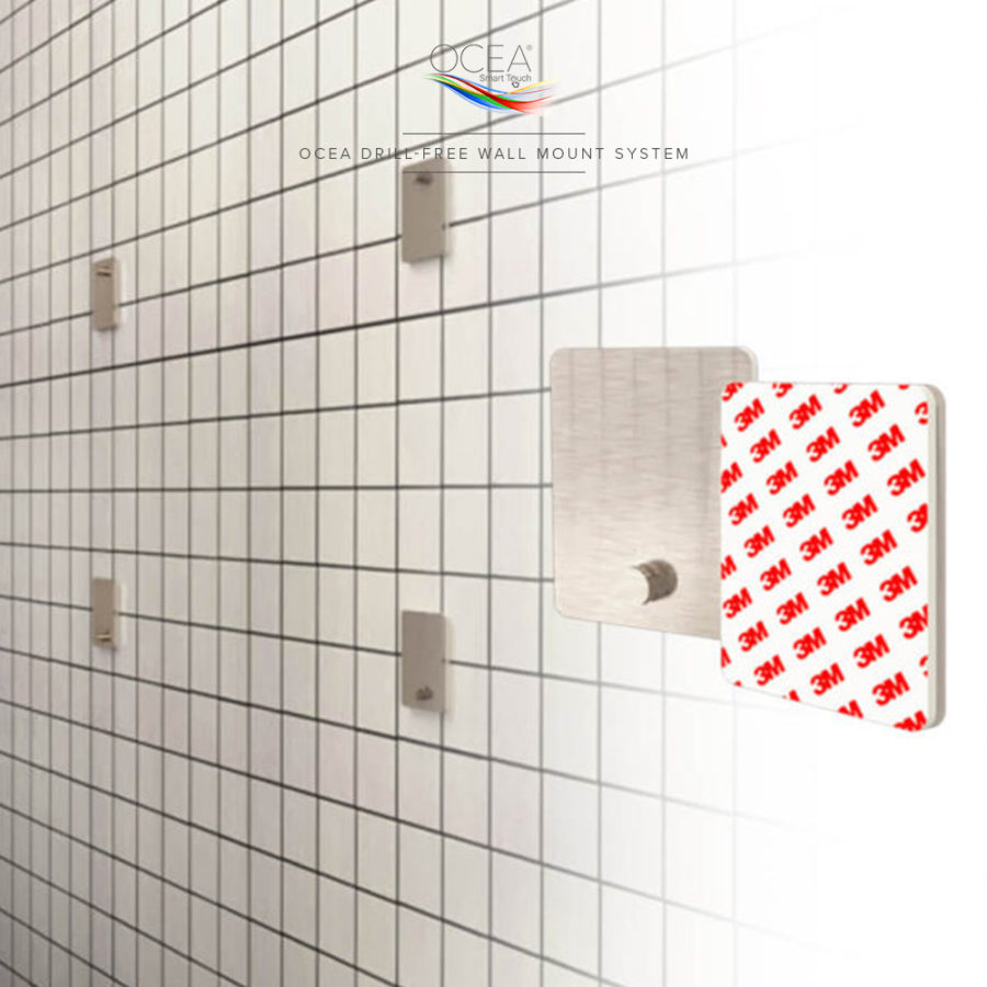 Drill free wall mount with this very strong 3M pads.