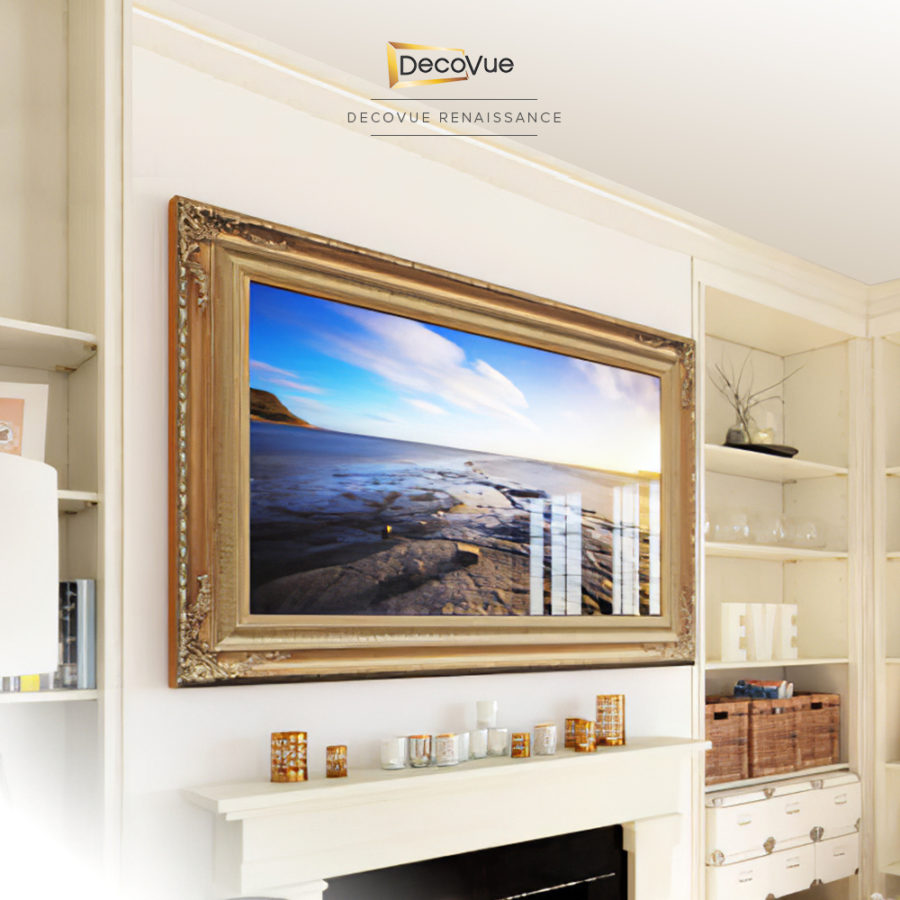 Gold frame with intricate and beautiful details for a smart vanishing mirror TV.