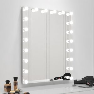 Hollywood mirror that provides a perfect bright light for applying makeup.