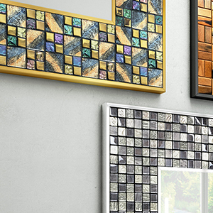 Mediterranean inspired mirror with ceramic frames available in many colors, patterns, and designs.