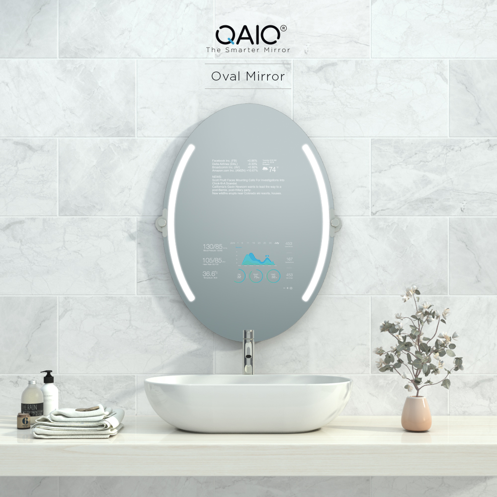 Oval vanity mirror TV with Alexa and Google Assistant.