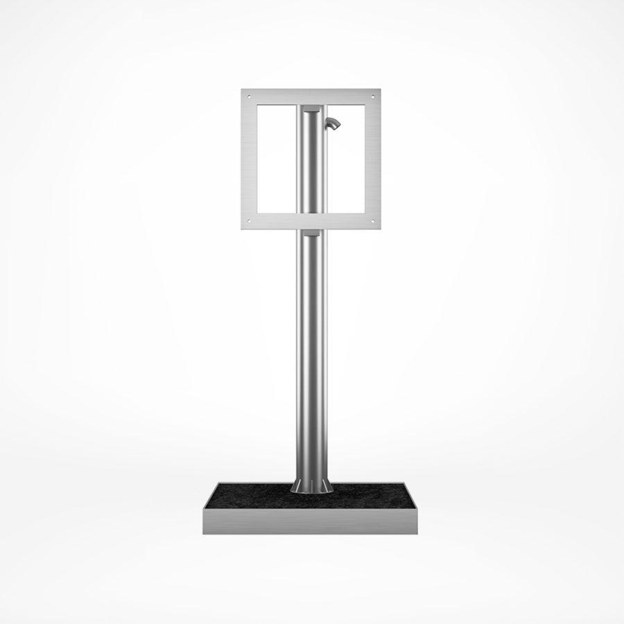 Real stone based outdoor TV self standing floor mount.