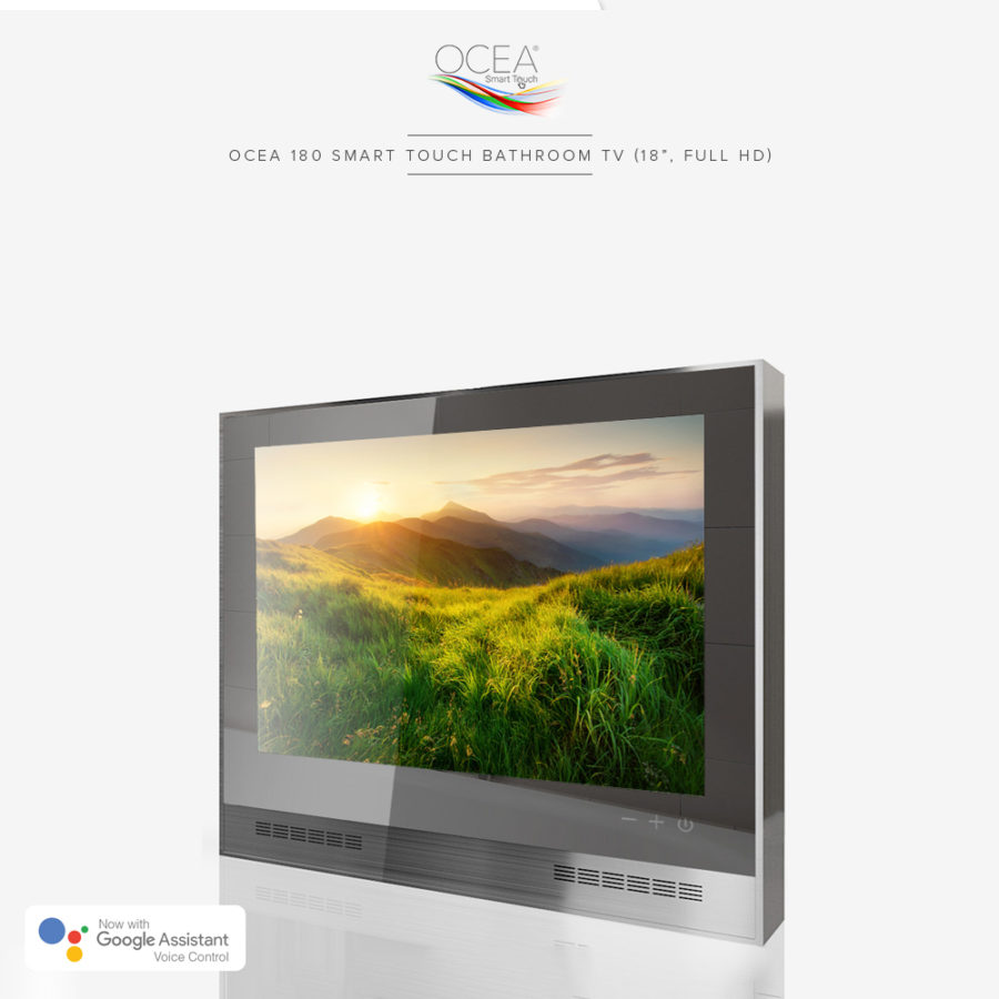 Smart touch bathroom TV with Google Assistant voice control.