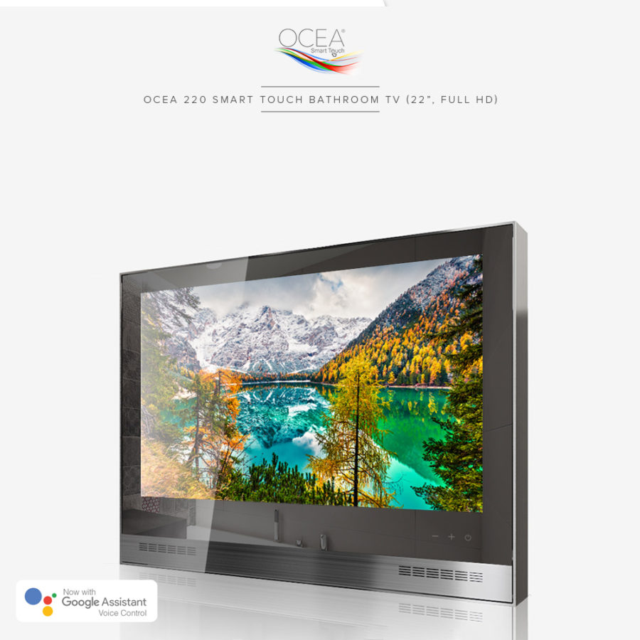 Smart touch bathroom TV with strengthened mirror glass.