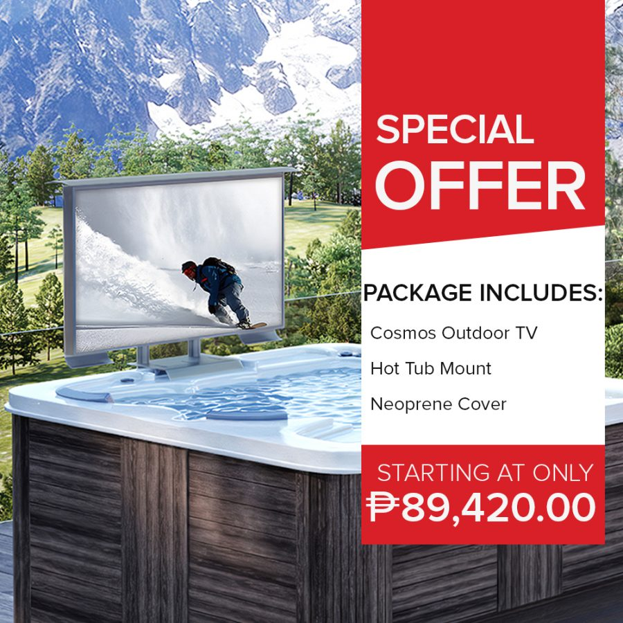 Special offer chich includes an outdoor TV, a hot tub mount, and a neoprene cover.