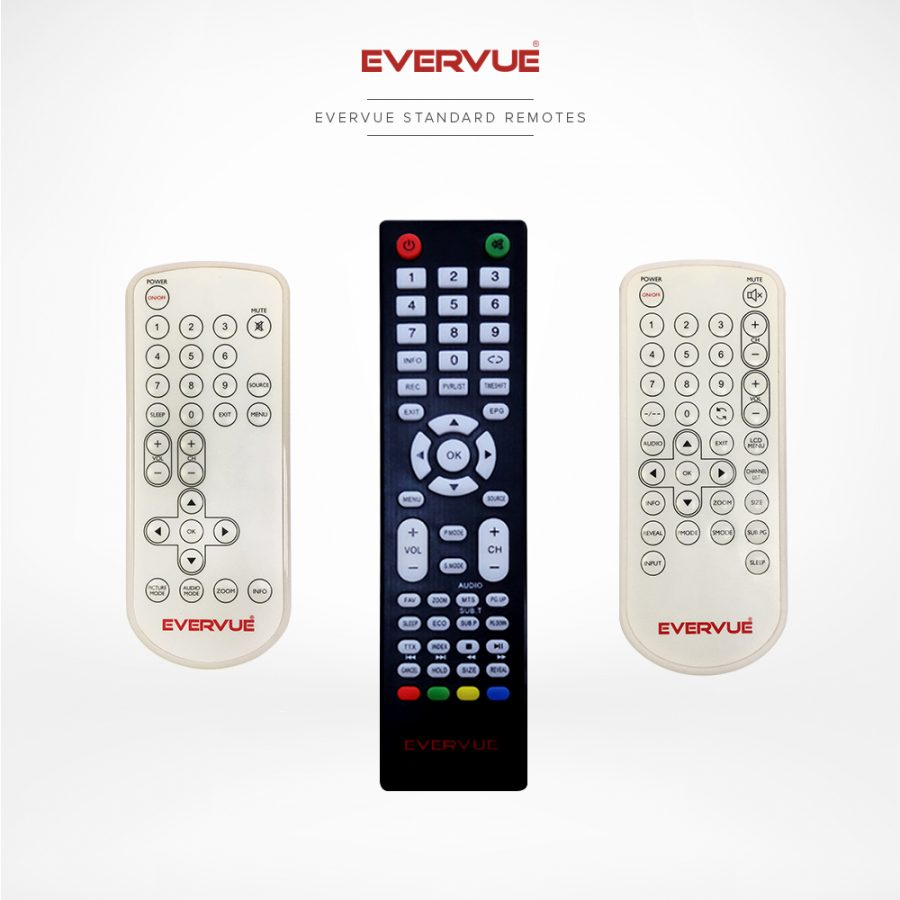 Standard TV remote controls with all the necessary control functions.