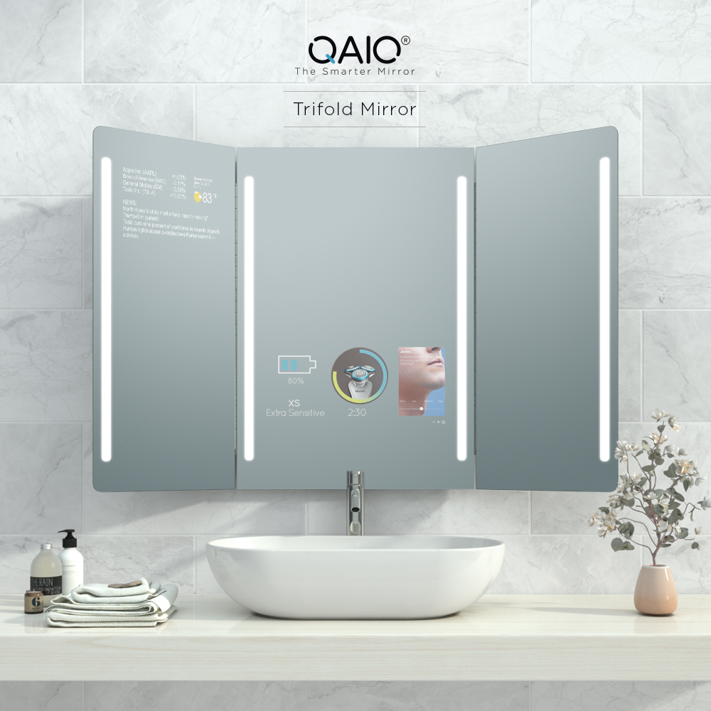 Trifold mirror with a vanishing smart TV when turned off.
