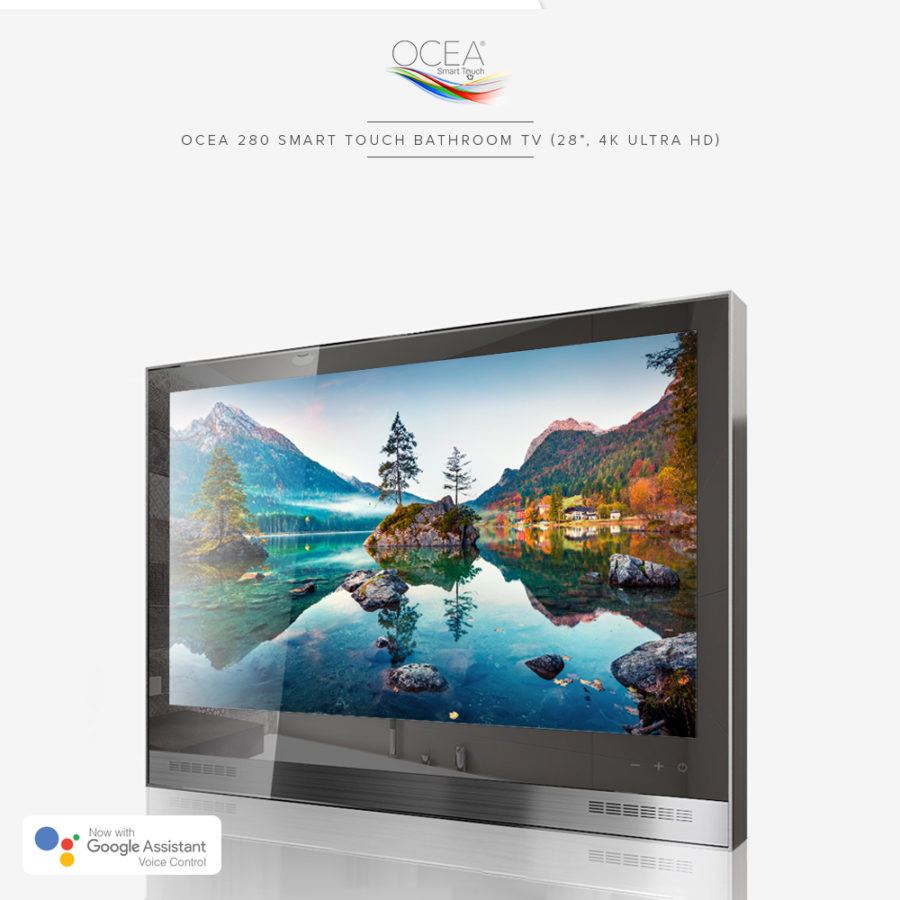 Real 4K ultra high definition resolution bathroom TV with built-in speaker bar.