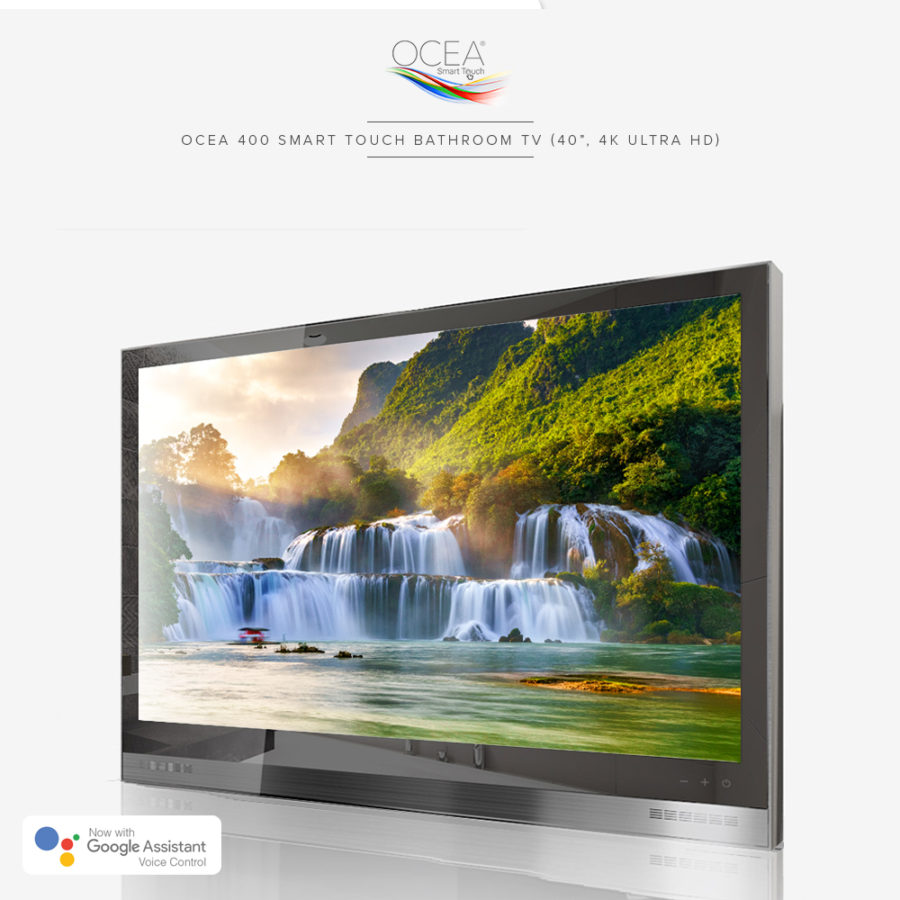 Voice controlled bathroom TV with the latest version of Android pre-installed.