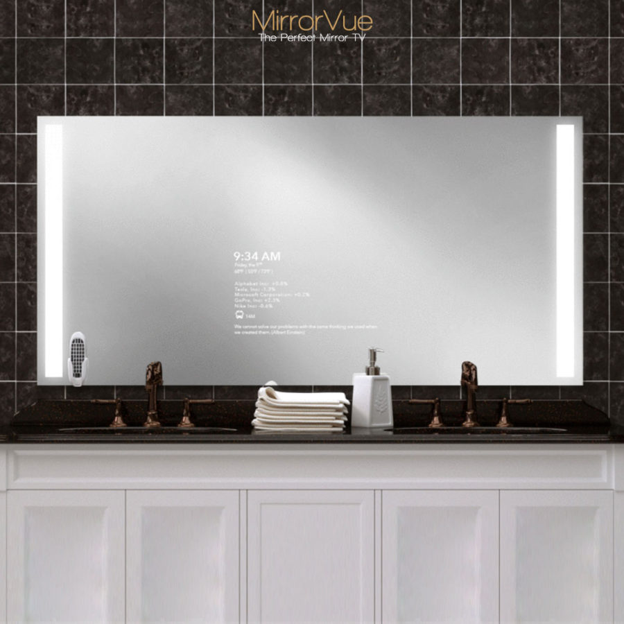 Wider and bigger screen double sink bathroom mirror TV.